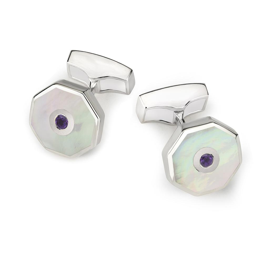Mother Of Pearl Sterling Silver Octagonal Cufflinks With Amethyst