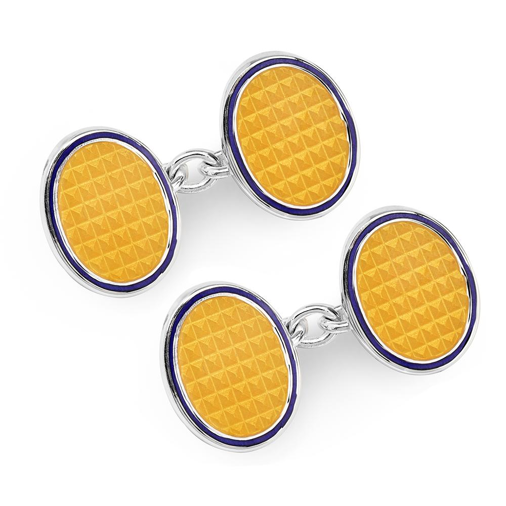 Oval Cloisonne Sterling Silver Chain Cufflinks In Yellow