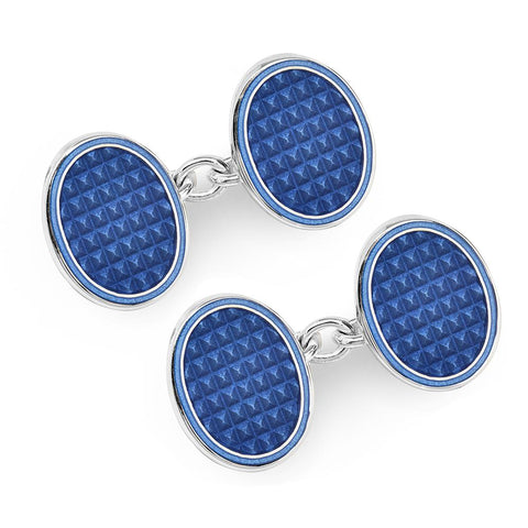 Oval Cloisonne Sterling Silver Chain Cufflinks In Navy
