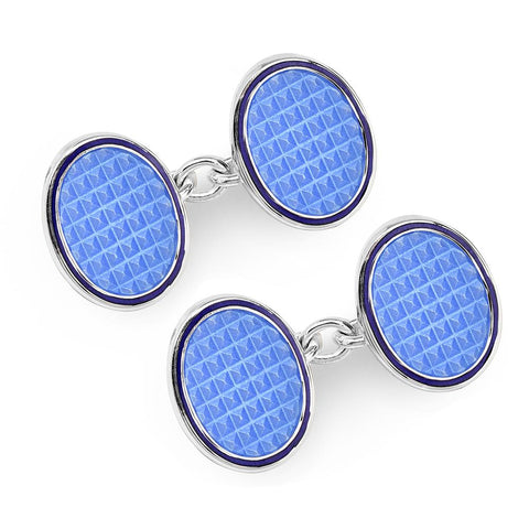 Oval Cloisonne Sterling Silver Chain Cufflinks In Sky Blue