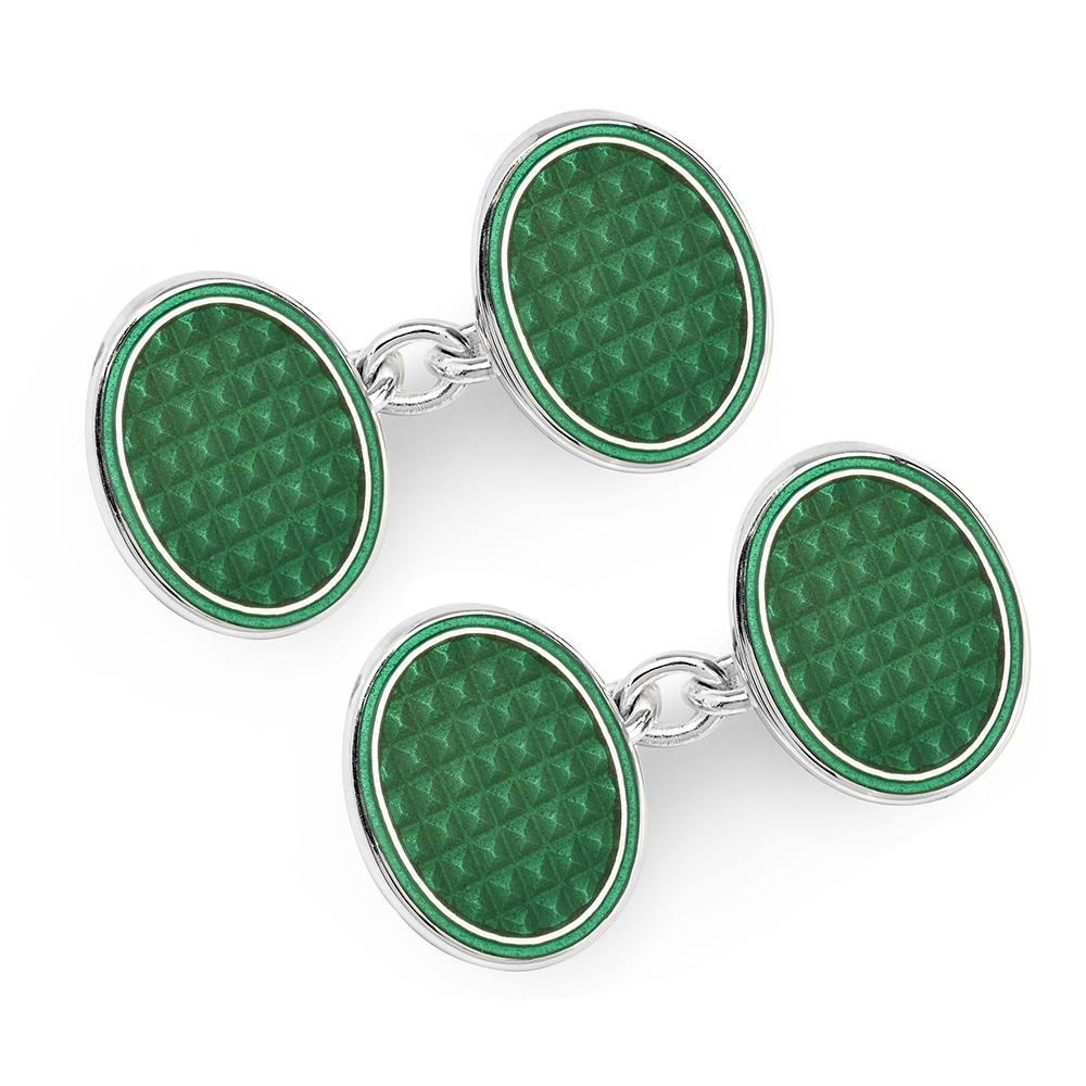 Oval Cloisonne Sterling Silver Chain Cufflinks In Green