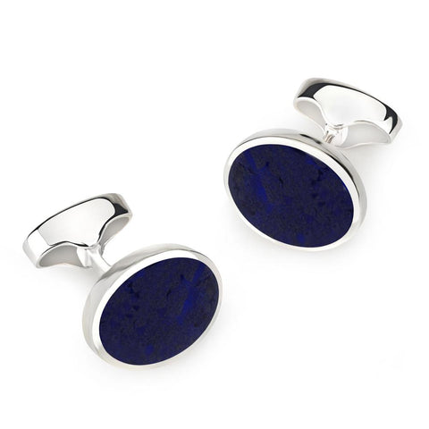 Sterling Silver Oval Cufflinks With Lapis Lazuli