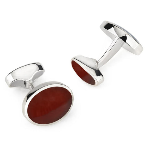 Sterling Silver Oval Cufflinks With Red Carnelian Cufflinks Not specified