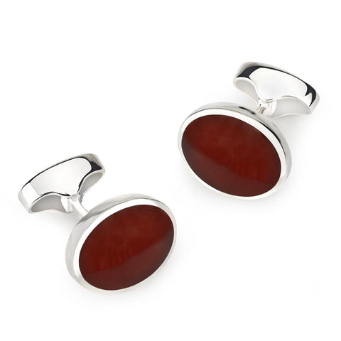 Sterling Silver Oval Cufflinks With Red Carnelian
