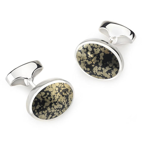 Sterling Silver Oval Cufflinks With Septarian Pyrite