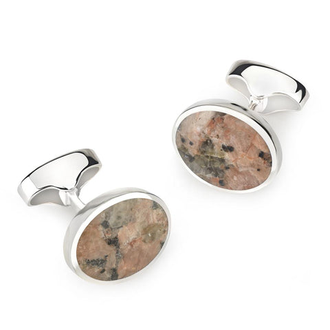 Sterling Silver Oval Cufflinks With Peterhead Stone