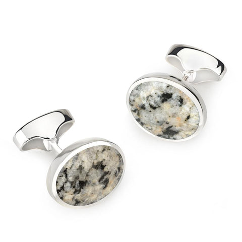 Sterling Silver Oval Cufflinks With Kemnay Stone