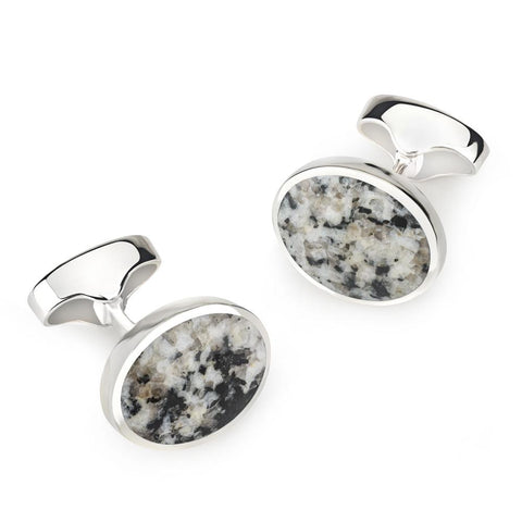 Sterling Silver Oval Cufflinks With Donegal Stone