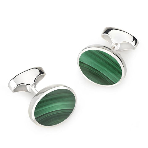 Sterling Silver Oval Cufflinks With Malachite