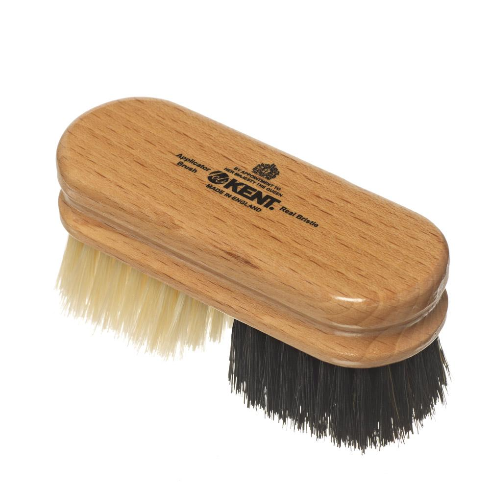 Finest Pure Black And White Bristle Duo Applicator Shoe Brush Accessories Kent Brushes