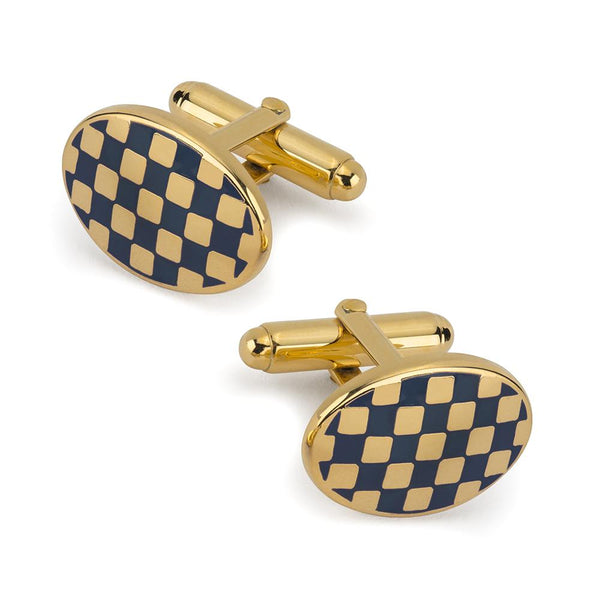 Checkerboard Cufflinks In Navy Enamel Cufflinks Not specified