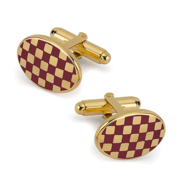 Checkerboard Cufflinks In Burgundy Enamel Cufflinks Not specified