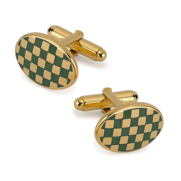 Checkerboard Cufflinks In Green Enamel Cufflinks Not specified