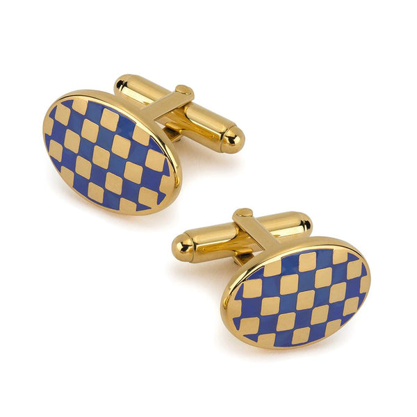 Checkerboard Cufflinks In Blue Enamel Cufflinks Not specified