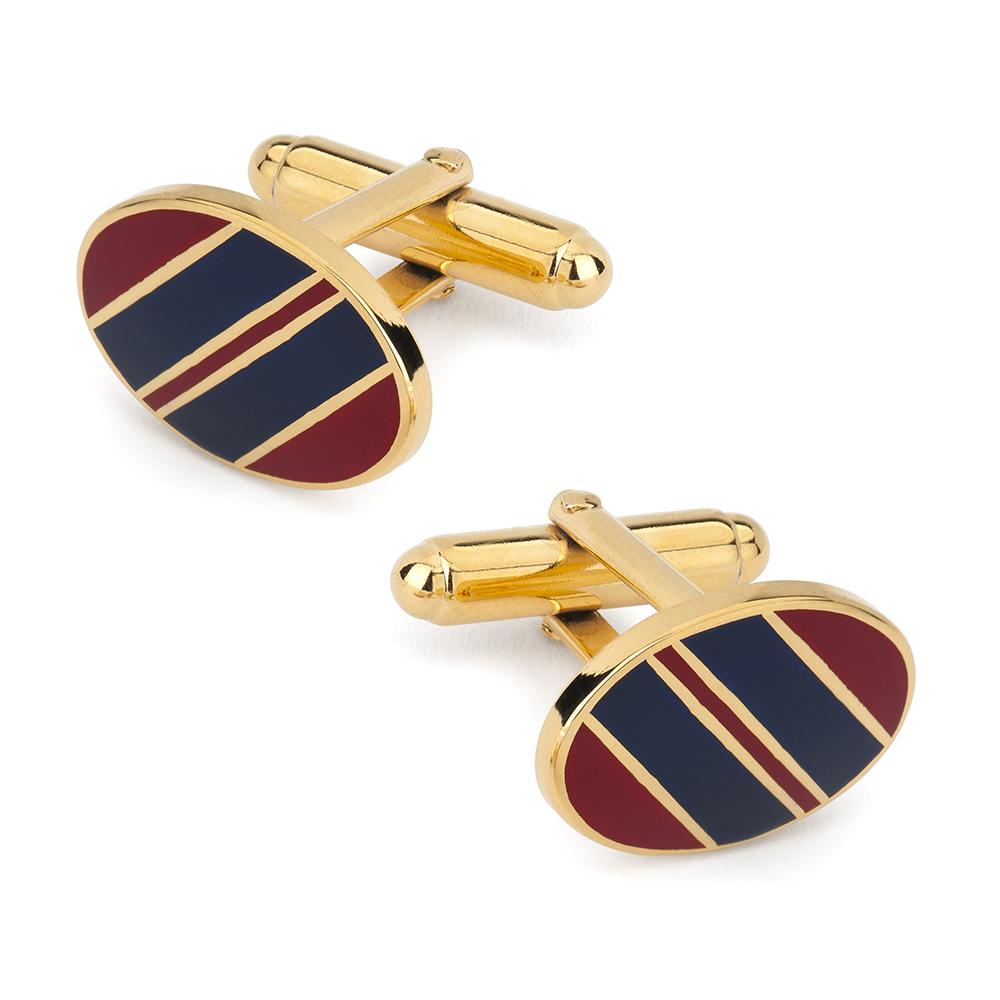 Wide Stripe Cufflinks In Red And Navy Enamel Cufflinks Not specified