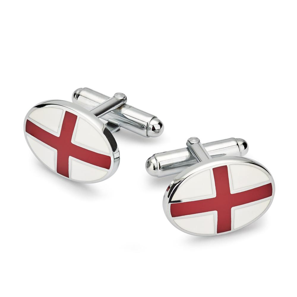 St Georges Cross T-Bar Cufflinks (Silver)