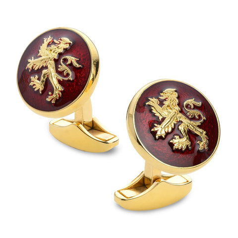 Lion Rampant Of Scotland Red Enamel Cufflinks In Gold