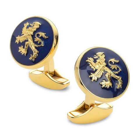 Lion Rampant Of Scotland Blue Enamel Cufflinks In Gold