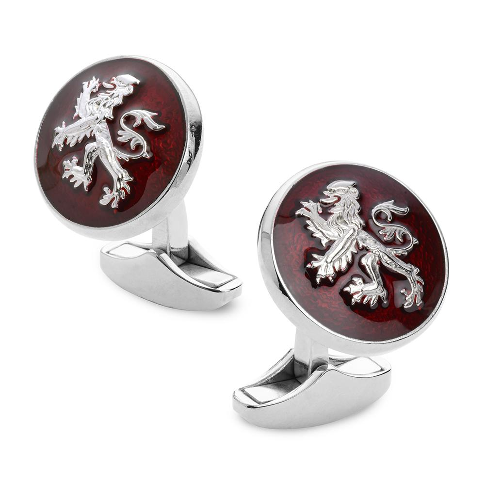 Lion Rampant Red Enamel Cufflinks In Silver Cufflinks Benson And Clegg