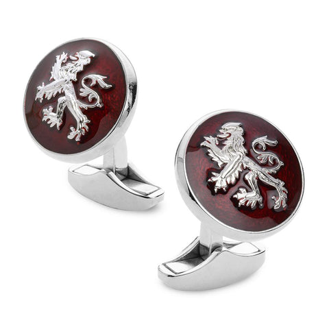 Lion Rampant Of Scotland Red Enamel Cufflinks In Silver