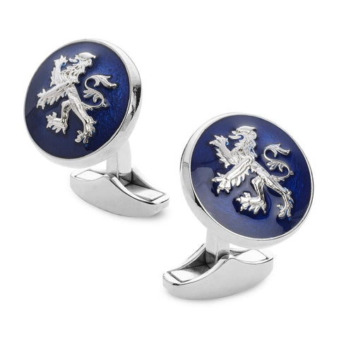 Lion Rampant Of Scotland Blue Enamel Cufflinks In Silver