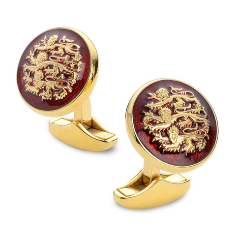 Three Lions Red Enamel Cufflinks In Gold Cufflinks Benson And Clegg