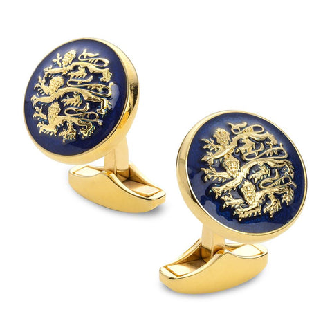 Three Lions Of England Blue Enamel Cufflinks In Gold