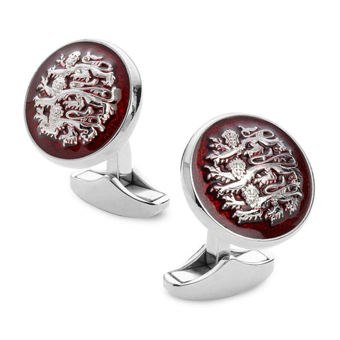 Three Lions Of England Red Enamel Cufflinks In Silver