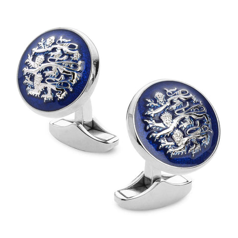 Three Lions Of England Blue Enamel Cufflinks In Silver