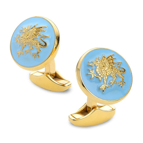 Welsh Dragon Enamel Cufflinks In Gold