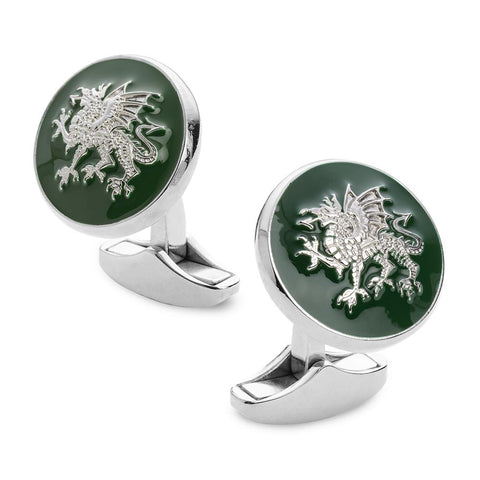 Welsh Dragon Enamel Cufflinks In Silver