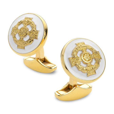 Celtic Cross Of Ireland Enamel Cufflinks In Gold