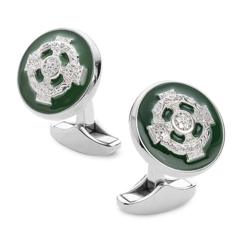 Celtic Cross Of Ireland Enamel Cufflinks In Silver
