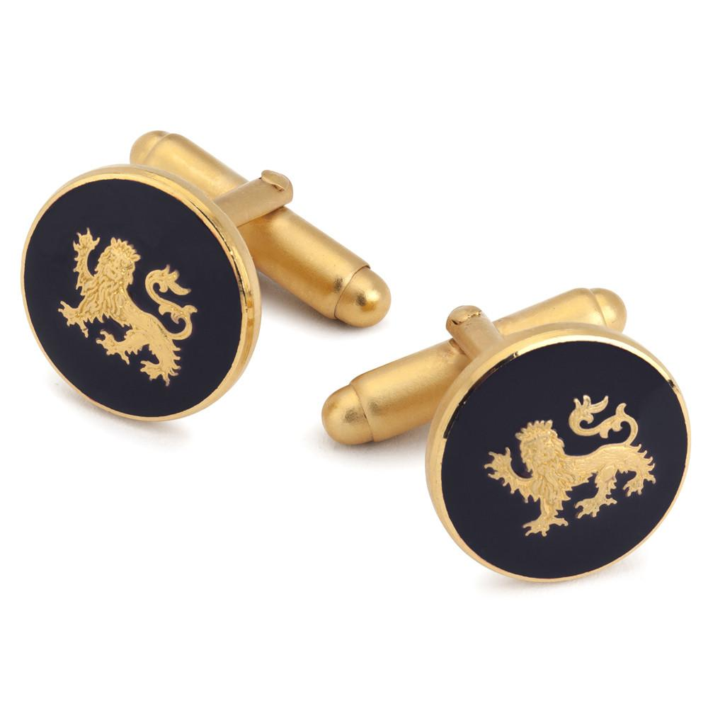 Lion Passant Guardant (Blue) Button Cufflinks