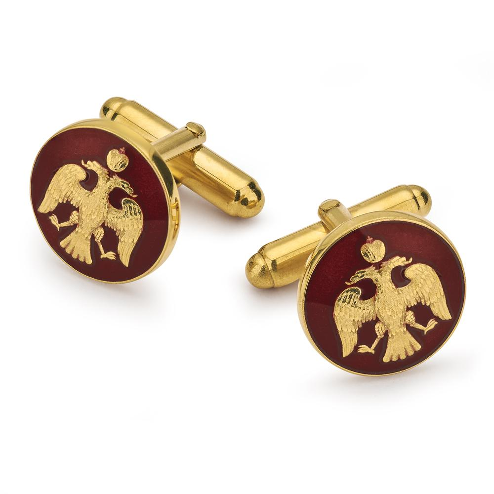 Imperial Eagle With Red Enamel Cufflinks