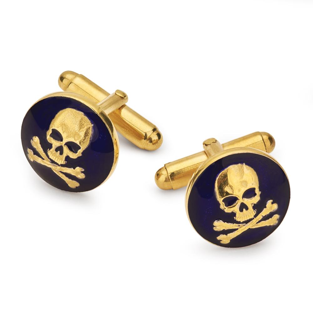 Skull & Crossbones (Navy) Button Cufflinks