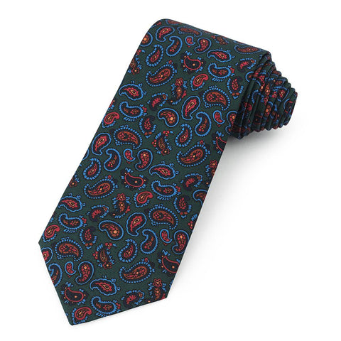Paisley Ancient Madder Silk Tie In Green