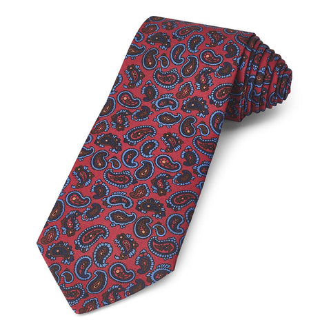 Paisley Ancient Madder Silk Tie In Red Neckwear Benson And Clegg