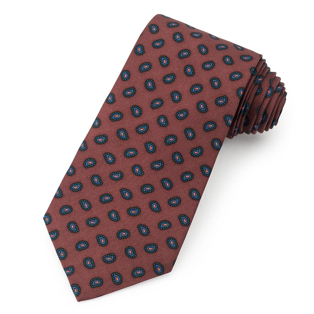 Teardrop Ancient Madder Silk Tie In Brown