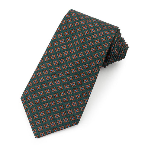 Floral Ancient Madder Silk Tie In Green Neckwear Benson And Clegg