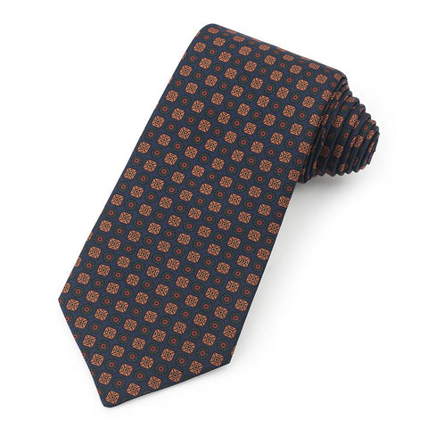 Square And Circle Ancient Madder Silk Tie In Navy Neckwear Benson And Clegg