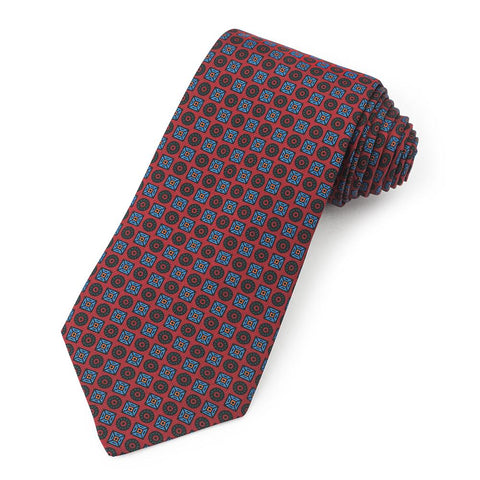 Square And Circle Ancient Madder Silk Tie In Red Neckwear Benson And Clegg