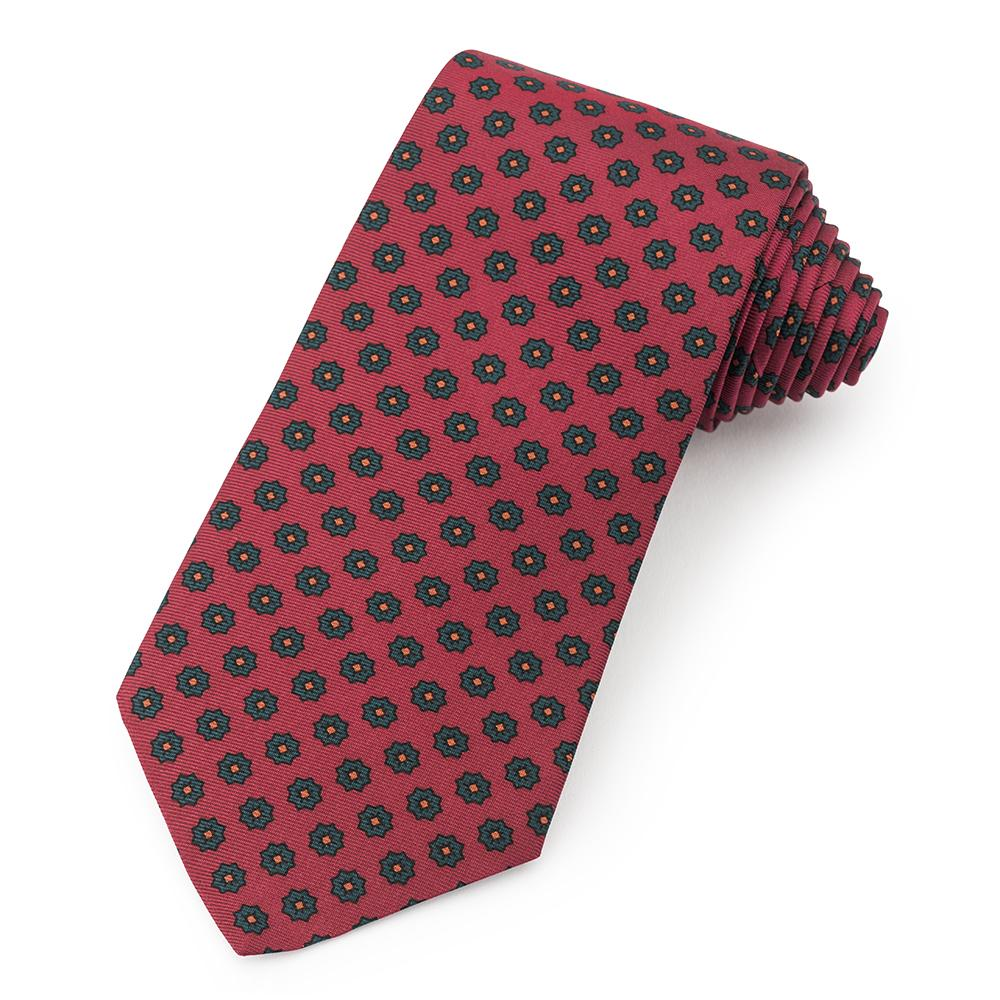 Star Ancient Madder Silk Tie In Red