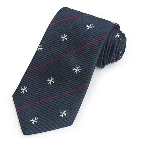 Order Of St John In Navy Three-Fold Silk Reppe Tie Neckwear Benson And Clegg