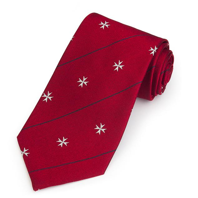 Order Of St John In Red Three-Fold Silk Reppe Tie