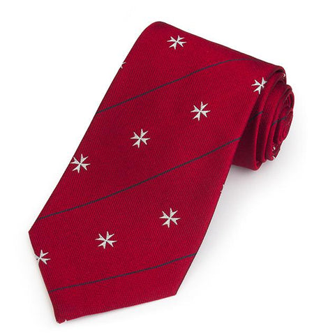 Order Of St John In Red Three-Fold Silk Reppe Tie Neckwear Benson And Clegg