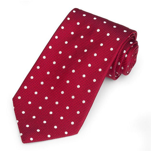 Regent Spot 350 End Silk Three-Fold Silk Tie In Red