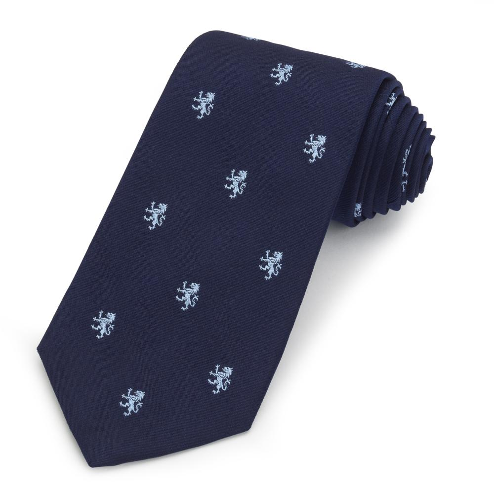 Rampant Lion (Light Blue On Navy) Silk Motif Tie