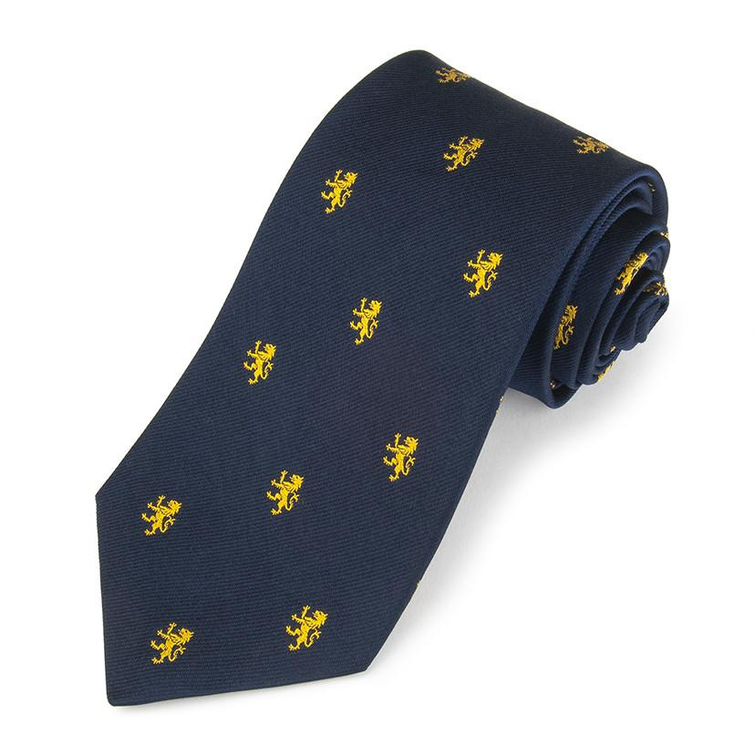 Rampant Lion Gold On Navy Three-Fold Silk Reppe Tie