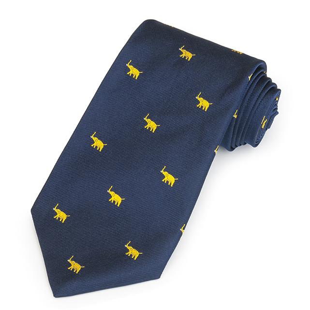 Elephant Motif Gold On Navy Three-Fold Silk Reppe Tie Neckwear Benson And Clegg
